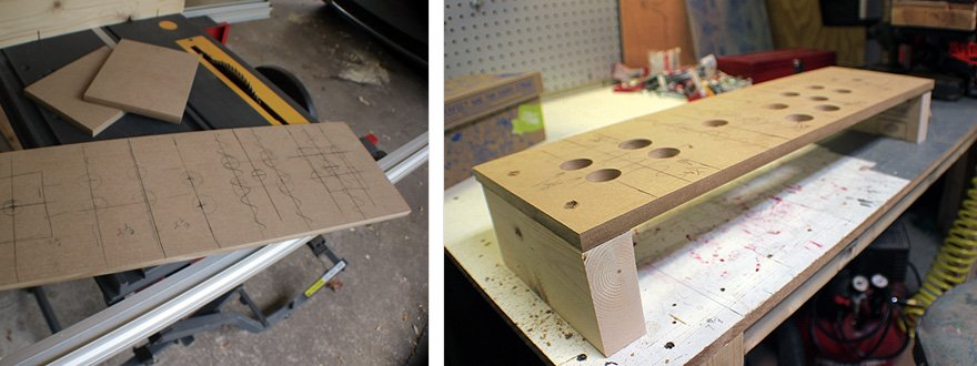Roughly lay out the controls on scrap wood. This is your chance to get it wrong, then change it.