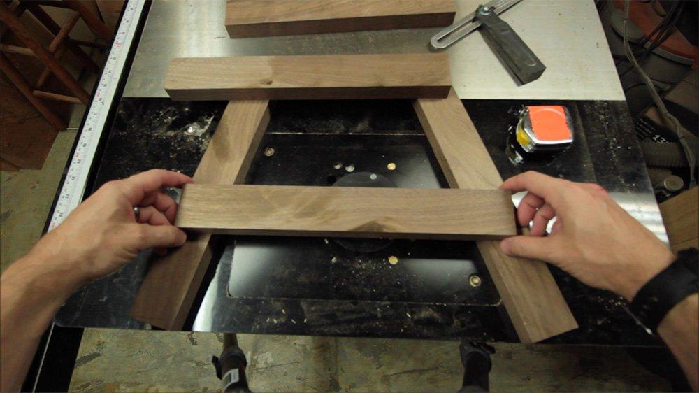 layout walnut leg assembly