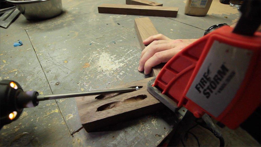 clamp walnut for adding screws